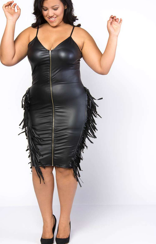Plus Size Faux Leather Dress with Fringe | Plus size outfits ...