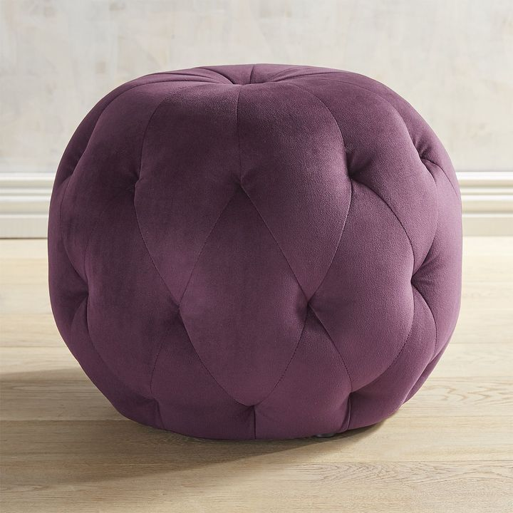 Swell Pier 1 Imports Ormand Plum Velvet Tufted Ottoman Products Ibusinesslaw Wood Chair Design Ideas Ibusinesslaworg