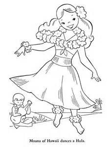 Hawaiian Hula Dancers Coloring Pages Hula Girl Dancers Coloring