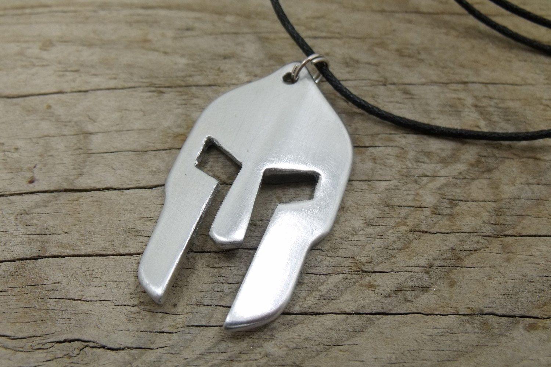 Personalized Spartan Helmet Necklace - Aluminum Pendant Nautical cord - Spartan…