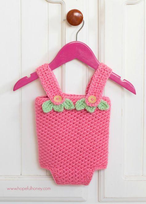 Strawberry Shortcake Baby Playsuit - Free Crochet Pattern
