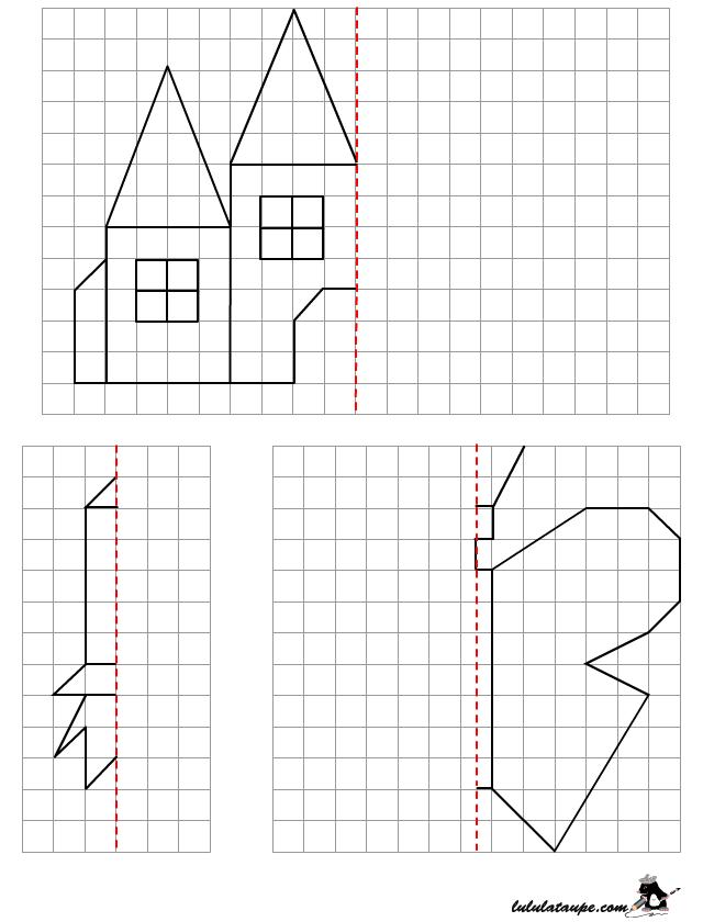 Symétrie sur quadrillage, dessin à reproduire | Symétrie ce1, Symétrie, Quadrillage