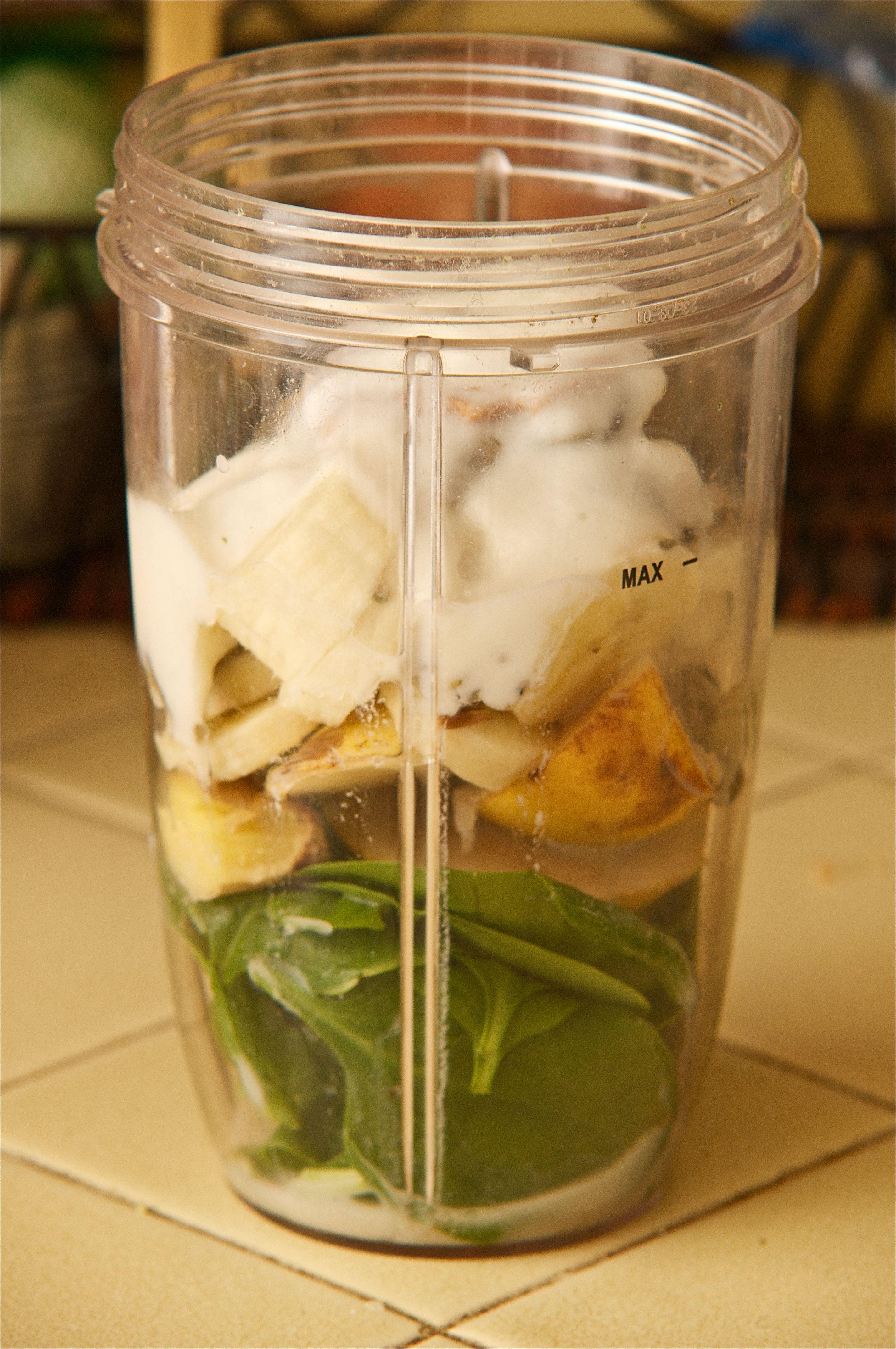 Spinach, Banana, Fresh Ginger Root (1/4 - 1/2 inch piece), Pear, Pumpkin Seeds, Peanut Butter (1/2-1 tsp), Yogurt, Add Coconut Milk & Blend.
