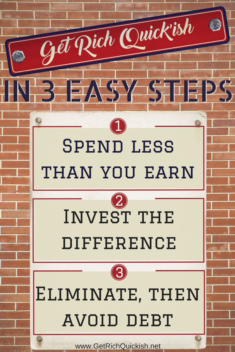 How To Get Rich Quickish In Three Easy Steps 1 Spend Less Money Than You Make 2 Invest The Difference 3 Eliminate Then Avoid Debt