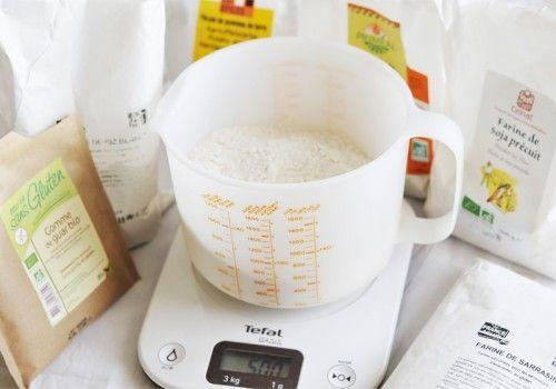farines sans gluten600 g de farine de riz diminuez la quantité de farine de riz de 150g et ajouter à la place 150g d'une farine plus forte en gout : farine de sarrasin, de farine de quinoa ou de farine de châtaigne !) 100 g de farine de soja ou de farine de tapioca 300 g de fécule de maïs (maïzena) ou de fécule de pomme de terre (ou 150g de chaque) 20 g de gomme guar ou gomme xanthane (inutil pour les crèpes, génoises et cakes, par contre bien en mettre pour les pâtes à tarte et le pain.)