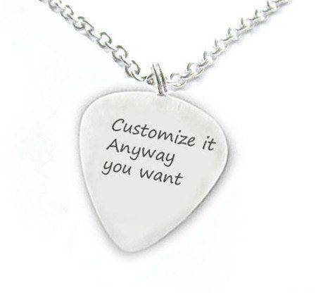 Customize guitar pick necklace personalized anyway you want hand customize guitar pick necklace personalized anyway you want hand stamped pendant music gift birthday sterling silver brass copper aluminum aloadofball Choice Image