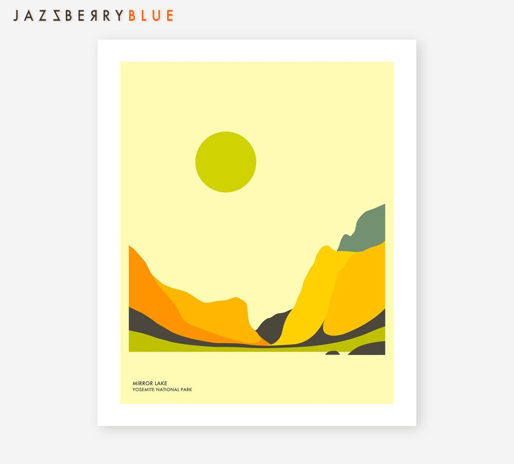 YOSEMITE NATIONAL PARK, Colorful, Modern, Minimal Wall art for the ...
