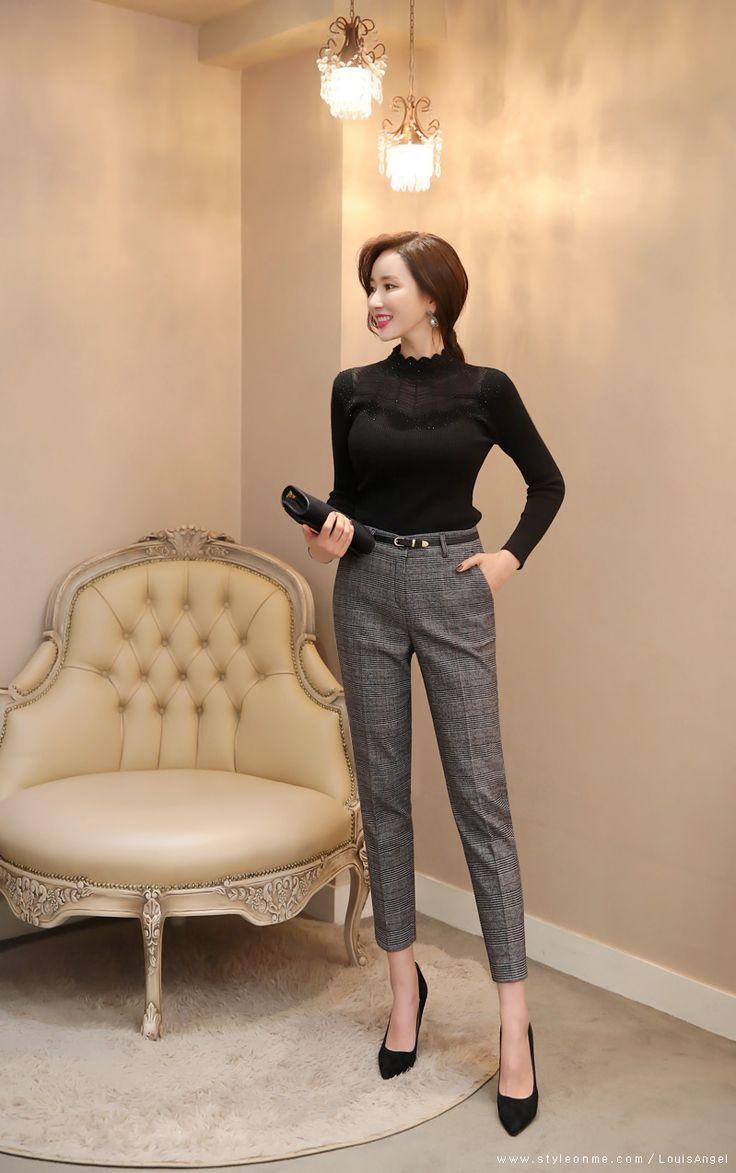 Check Print Fleece-lined Slim Fit Slacks