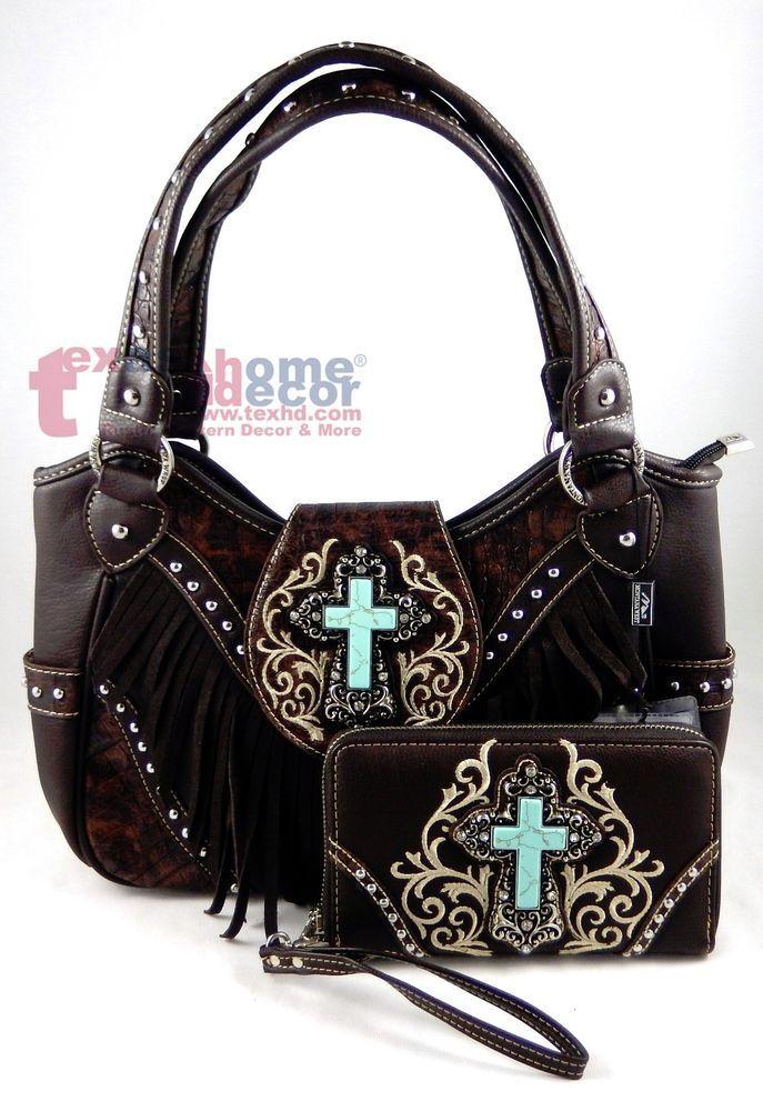 15b468e542ec Montana West Western Handbag & Wallet Set Turquoise Cross Fringe ...