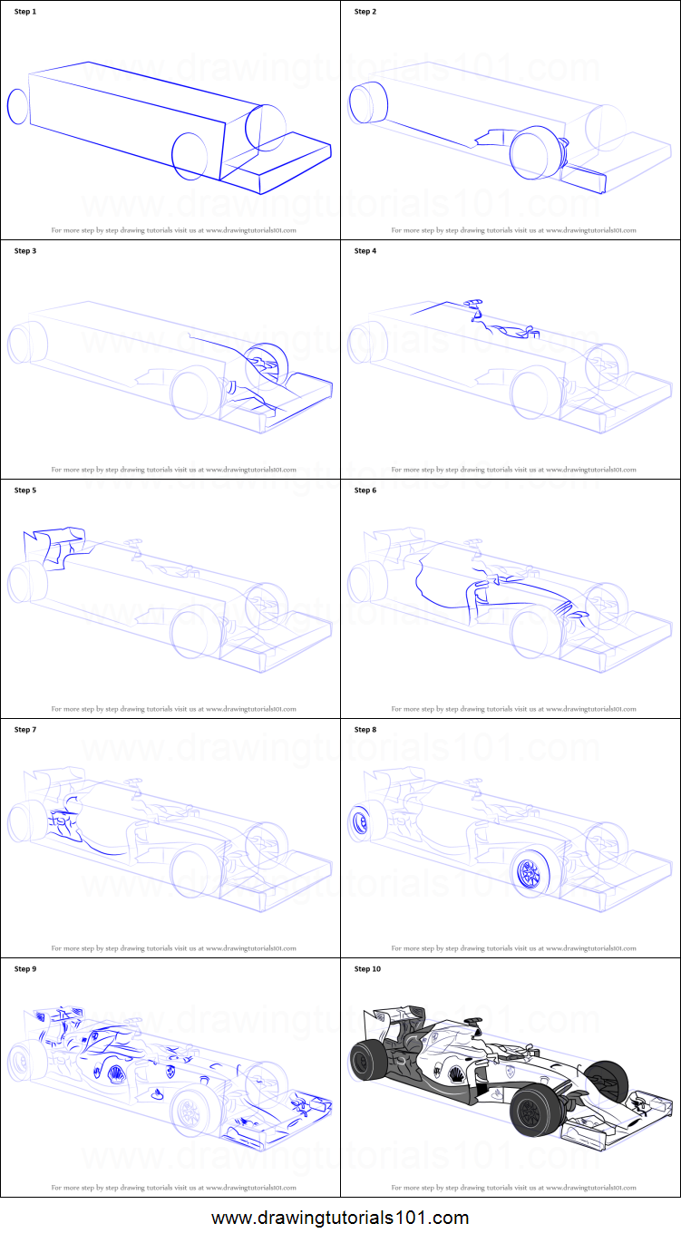 How to Draw F1 Car Printable Drawing Sheet by DrawingTutorials101.com