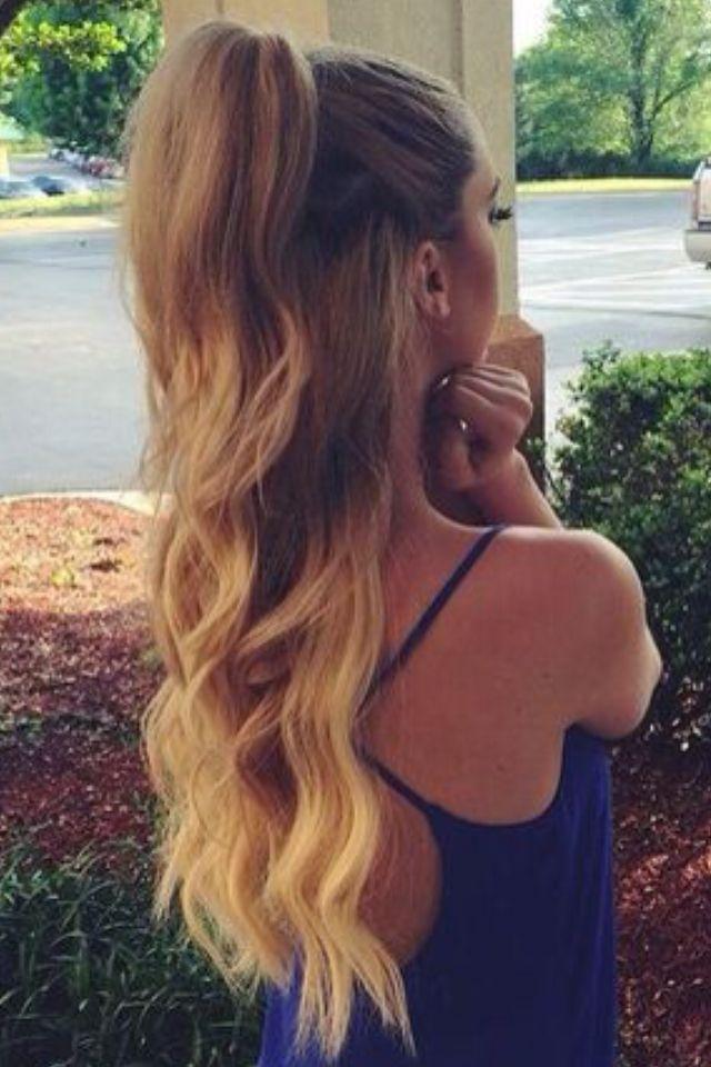 Half Up Half Down Omber Wavy Hair Gorgeoushair Hair Styles Cheer Hair Hairstyle