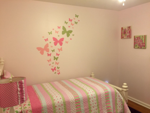 Butterfly Wall Decals Soft Pink Pink Sage Green Vinyl Wall