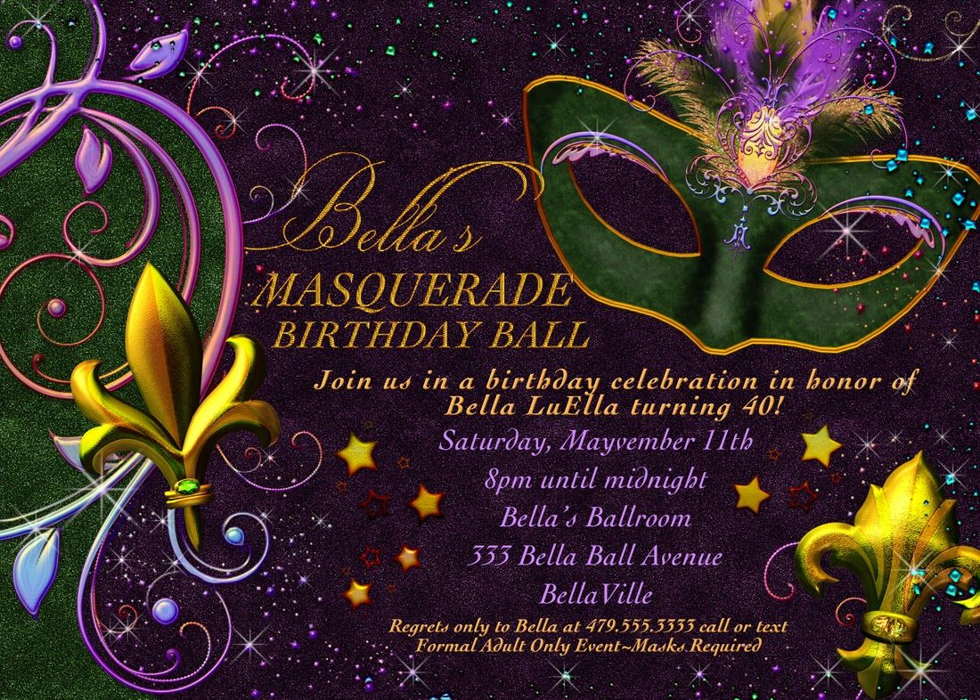 graphic about Free Printable Mardi Gras Invitations named Totally free Printable Mardi Gras Invitation Misc Masquerade