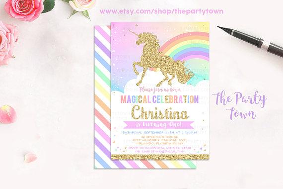 Unicorn Invitation Birthday Rainbow Magical Invite Gold Pastel Party 1st TPT02