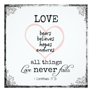 Love Never Fails Verse Wedding Customized Announcement Card