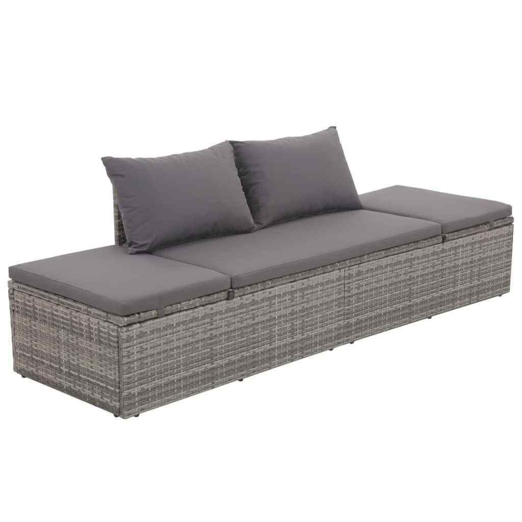 Vidaxl Outdoor Lounge Bed Poly Rattan Gray Wicker Patio Pool Sofa