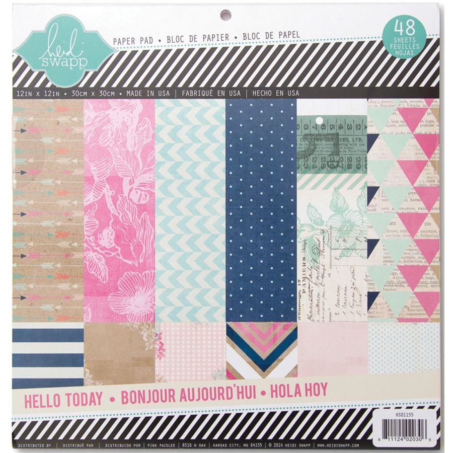 Scrapbook paper pads - Heidi Swapp Hello Today Collection Memory Planner 12 X 12 Paper Pad Glitter