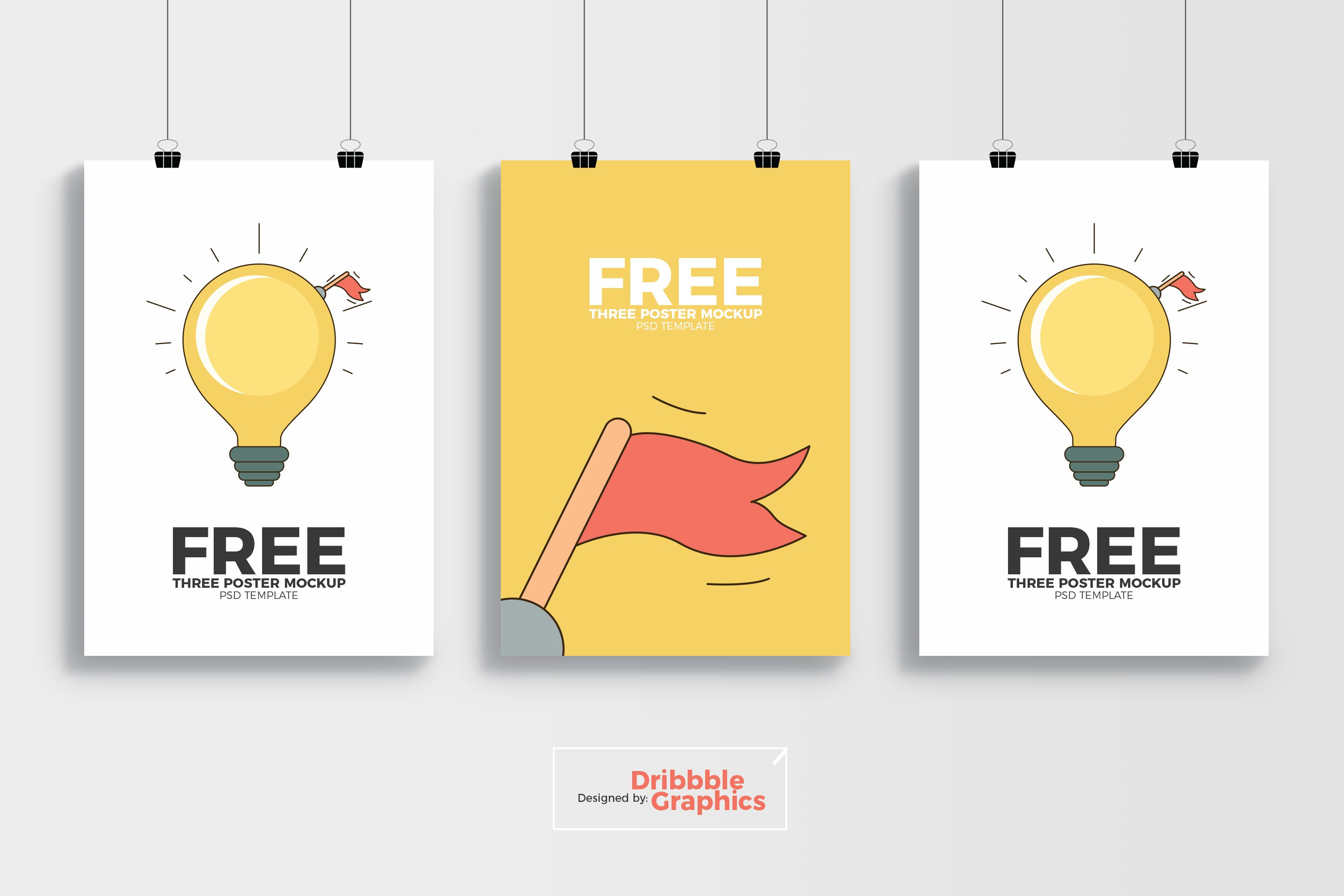 Free 3 Poster Mockup Psd Template Dribbble Graphics Poster Mockup Psd Poster Mockup Poster Mockup Free