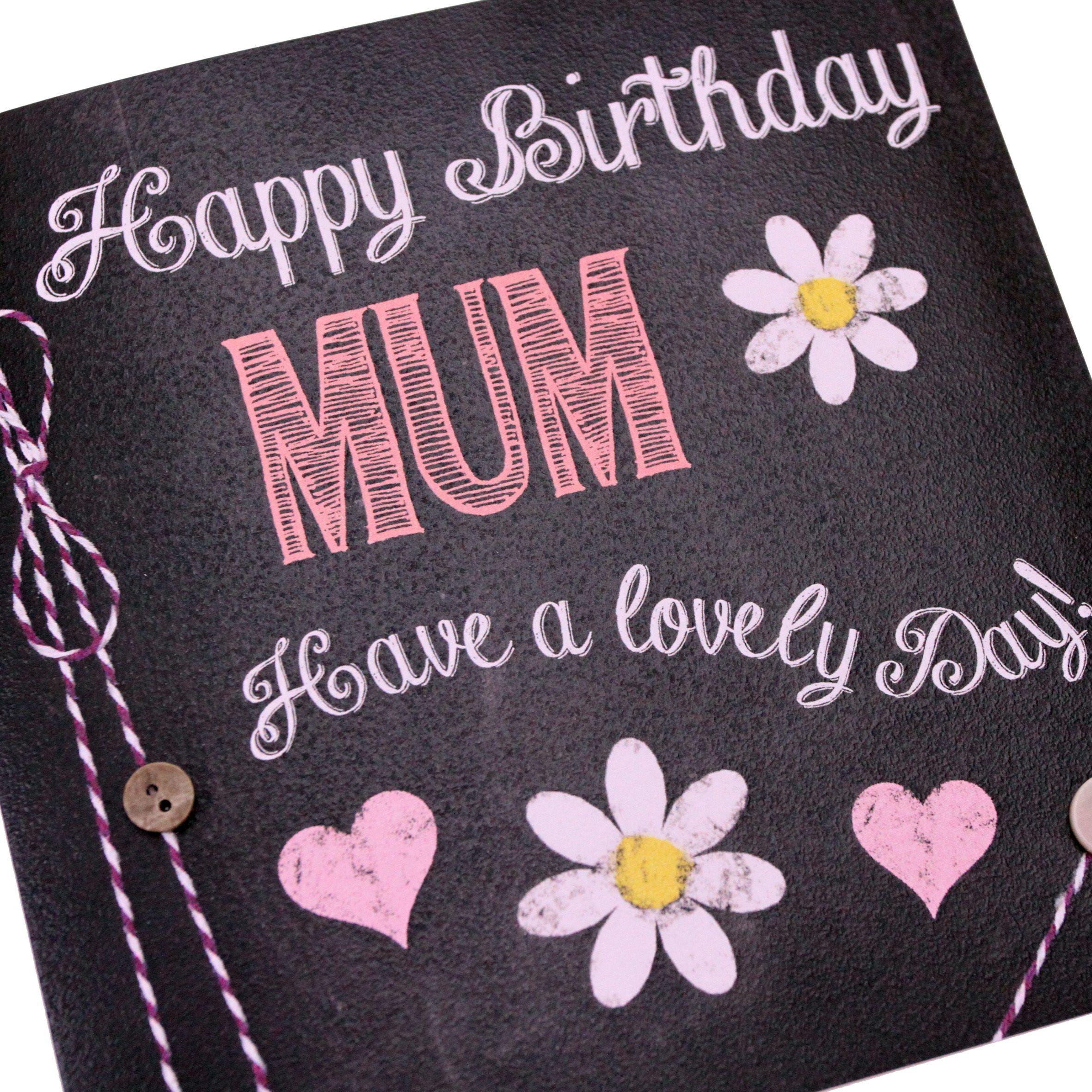 Handmade Chalk Effect Birthday Card Hearts Daisy Flowers Mum