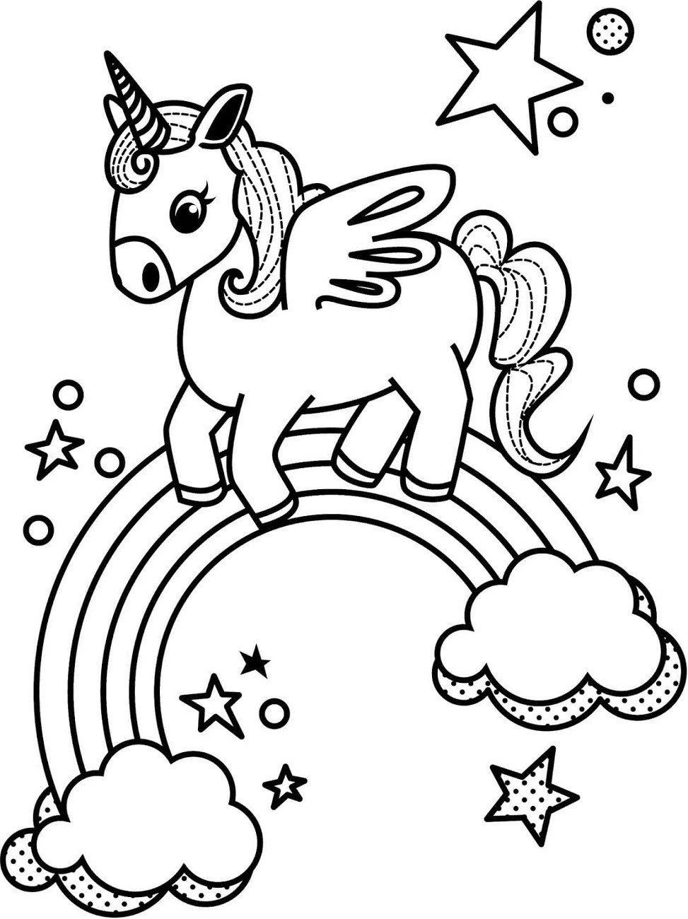 Coloring Pages Of Rainbows Little Unicorn and Rainbow