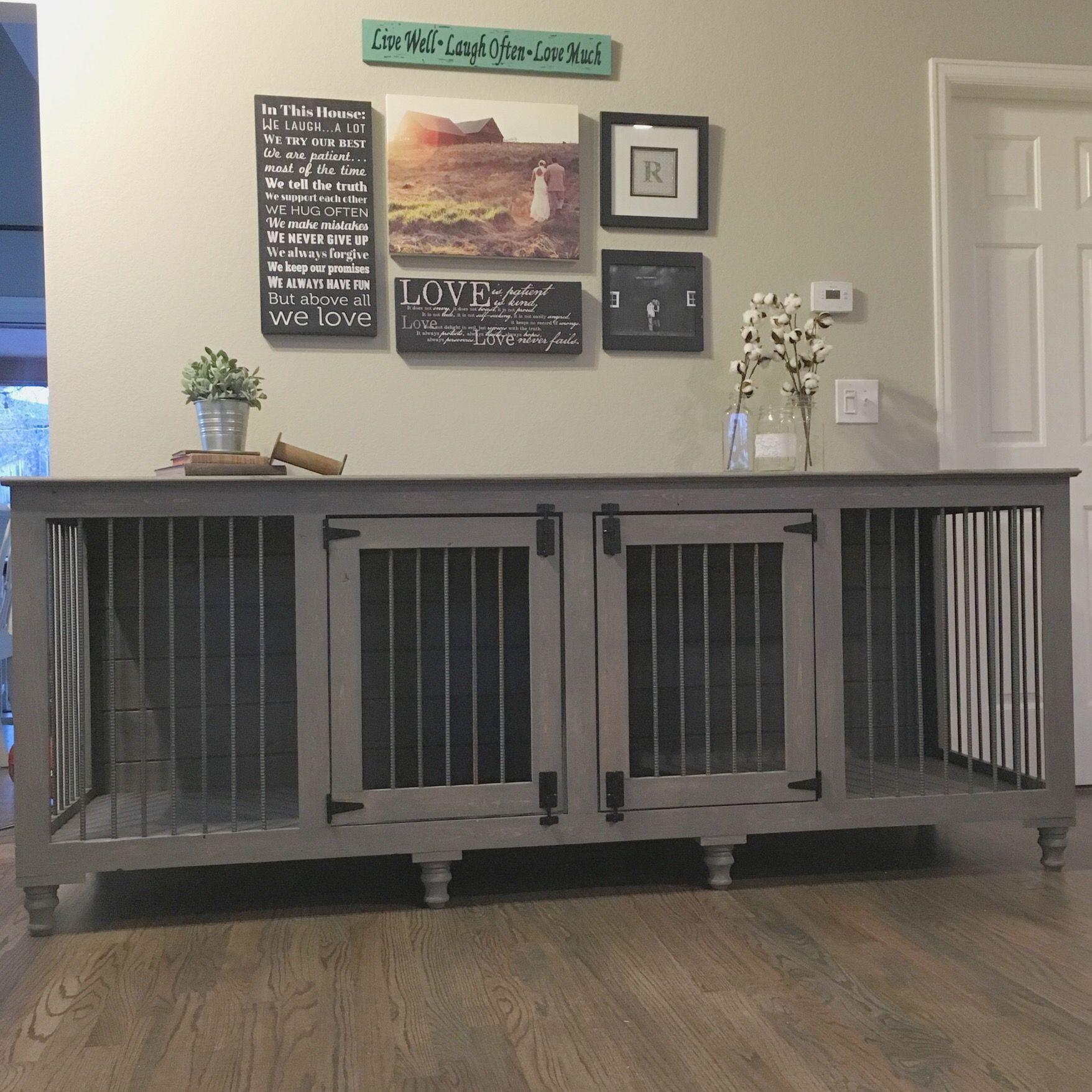 Grey Xl Double Diy Dog Crate Dog Crate Furniture
