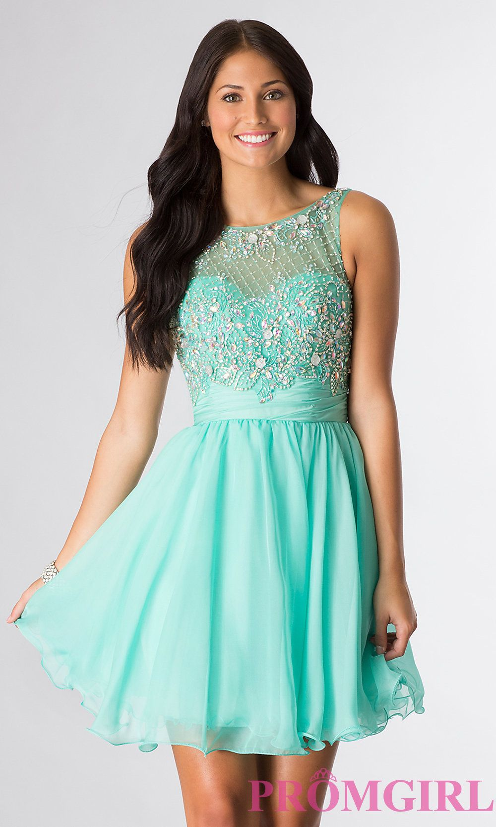 Short beaded mint blue dress, perfect for a Bat Mitzvah. Style: DQ ...
