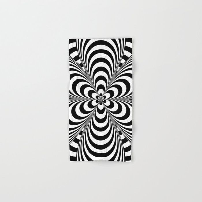 Op Art Flower Hand & Bath Towel by Lisann - Hand Towel