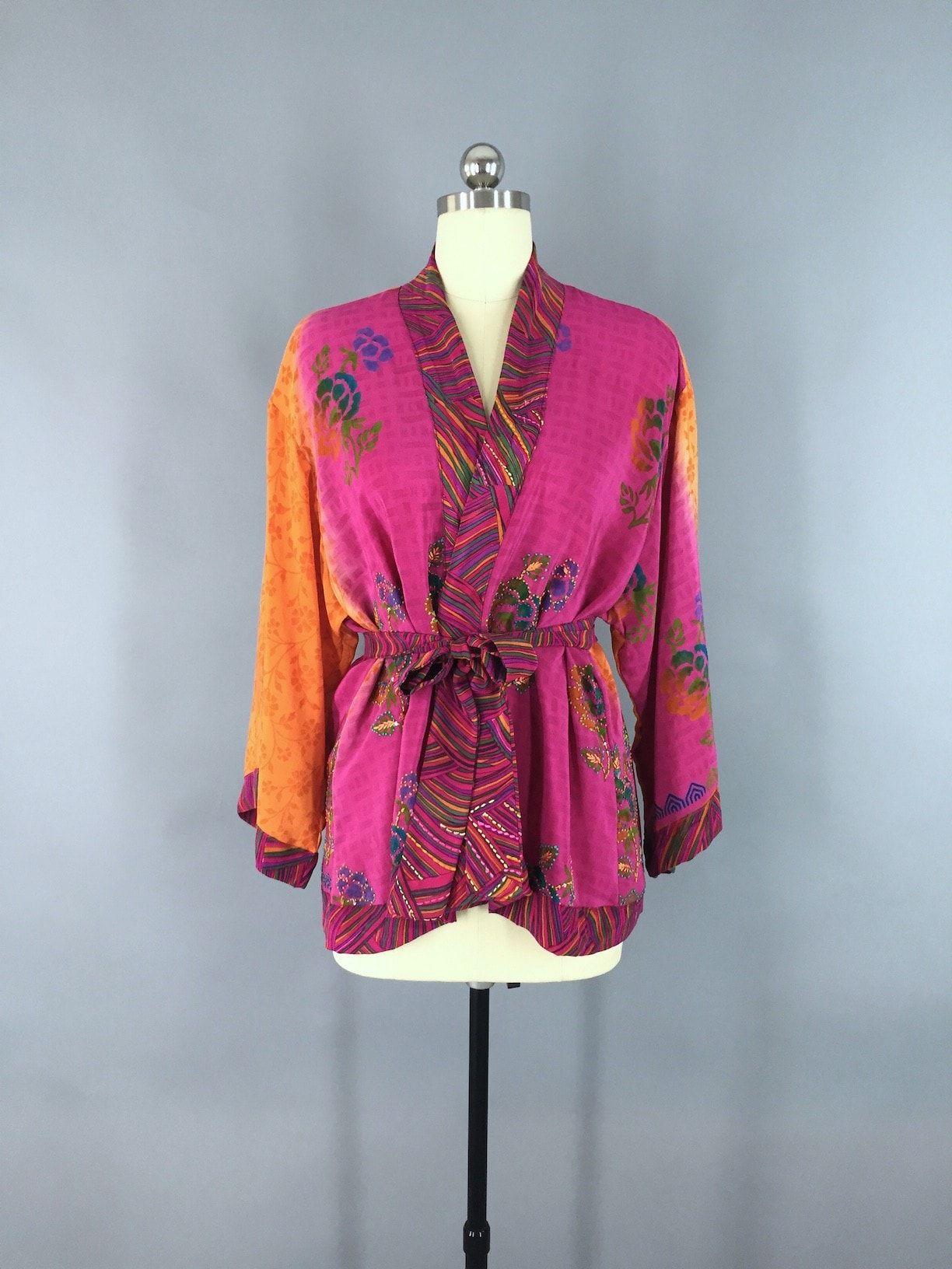 Pink & Orange Floral Print Silk Kimono Jacket made from a Vintage ...