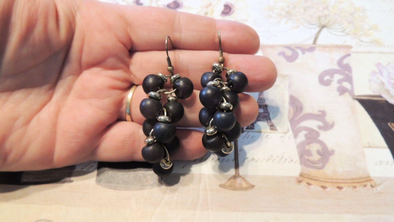 Long Black Lucite Cluster Dangle Earrings Pierced Vintage