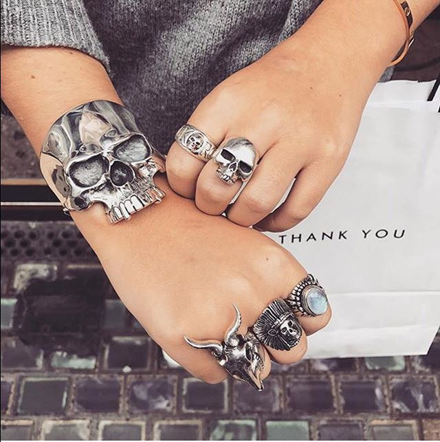"3096fae7d3b2a ... Rock N Roll with Skull ring, New…"" An epic TGF collection: Skull Cuff  (link in bio for closer look),"