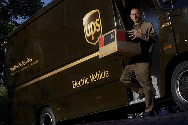 Ups United Parcel Service Delivery Vehicle With Driver