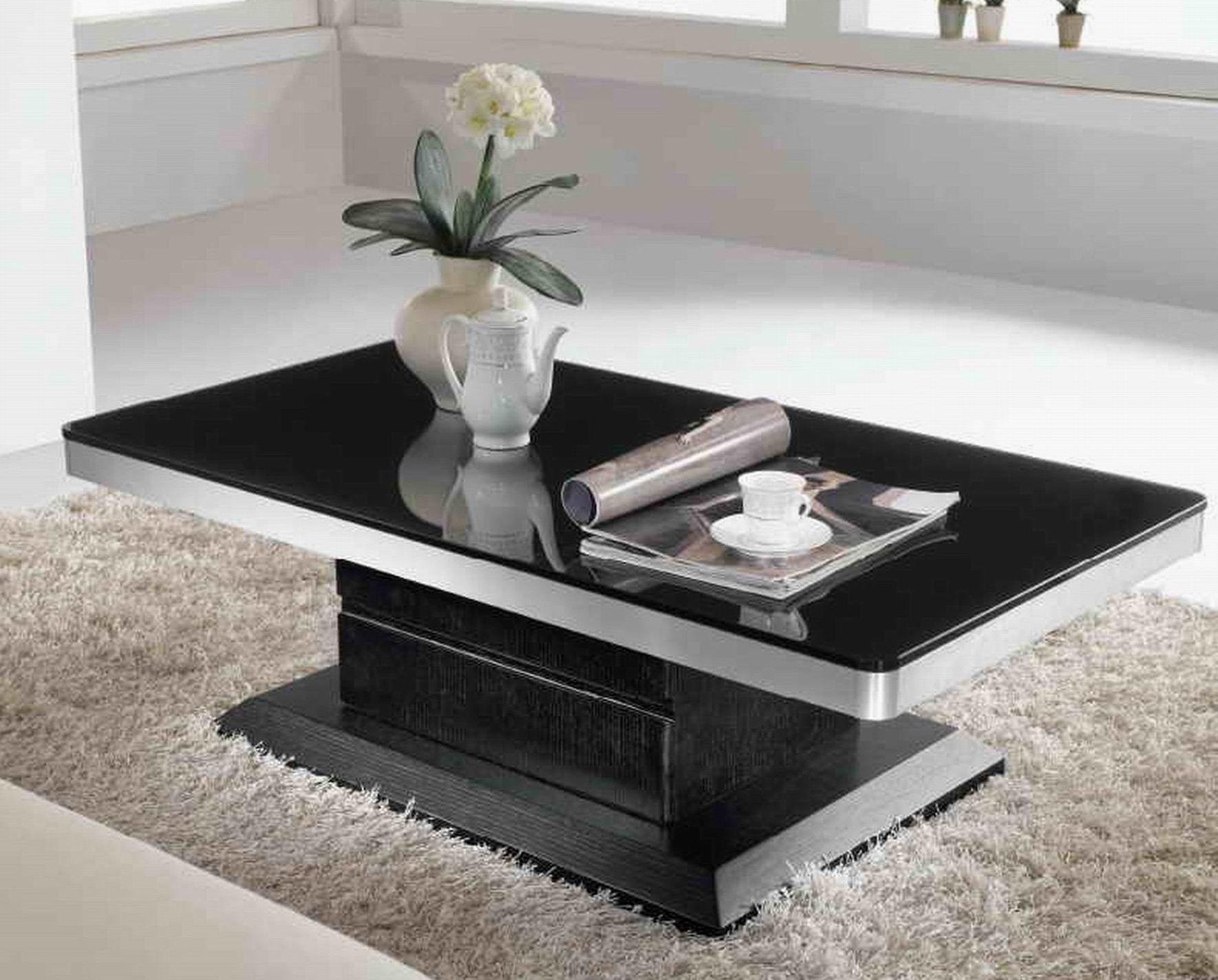 Fabulous Modern Coffee Table Black Wooden Style White Floor