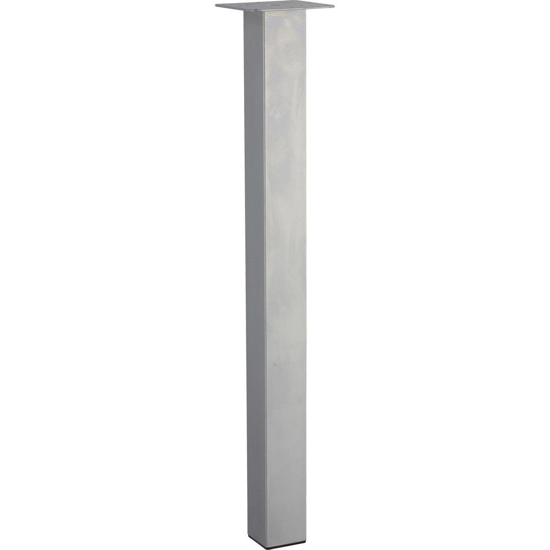 Pied De Table Carre Reglable Acier Mat Gris De 70 A 73 Cm Pieds De Table Pied Meuble Table Carree