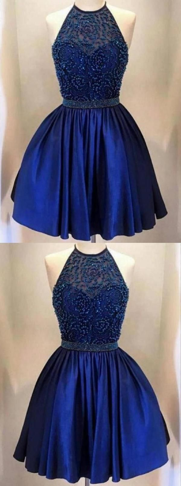 Hot sale cute blue backless in homecoming dresses