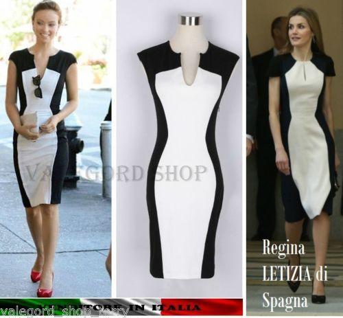 a976136b6c4d Vestito-contrasto-bianco-nero-snellente-elegante-REGINA-LETIZIA-dress-robe- abito