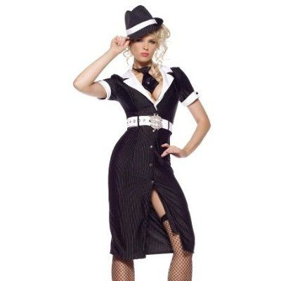 Simple  Gangster Costume 1920s Mob Mafia Boss Womens Fancy Dress Outfit New