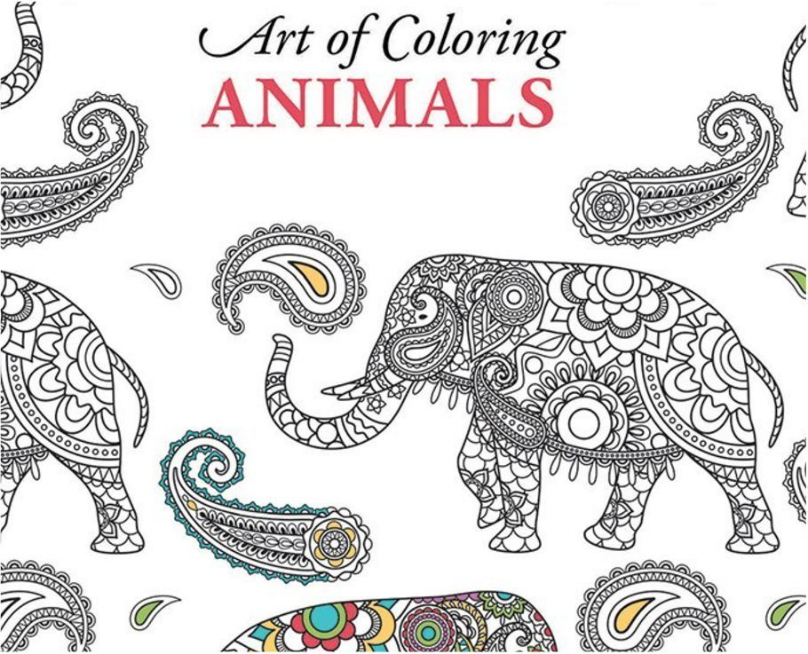 Coloring Book Adult Images Wild Animals Elephant Relax Hobby Color Therapy 48P