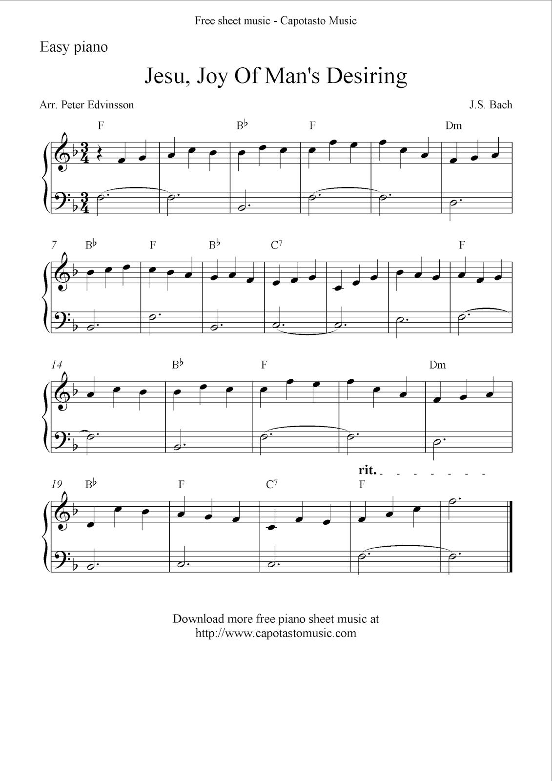 Free easy piano sheet music solo, Jesu, Joy Of Man's