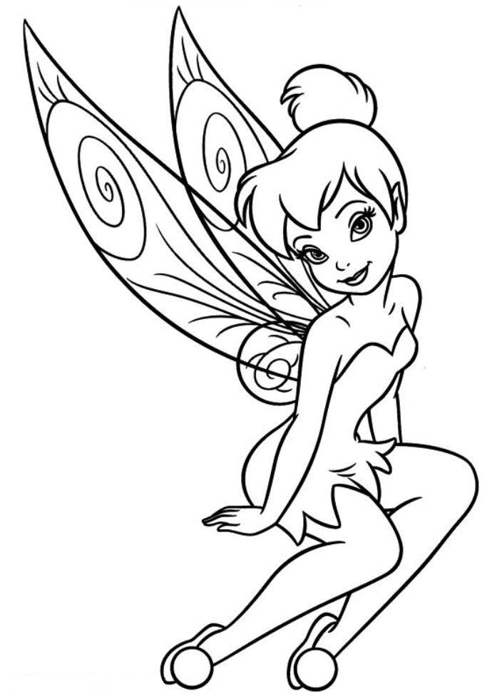 Download and print free tinkerbell coloring pages girls for Black and white tinkerbell
