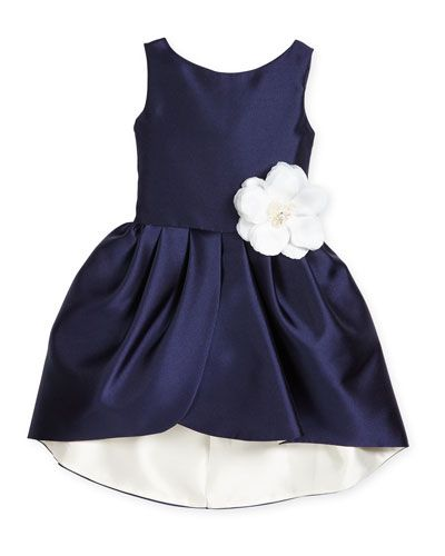 Z1P70 Zoe Sleeveless Sateen Party Dress, NavyIvory, Size 7
