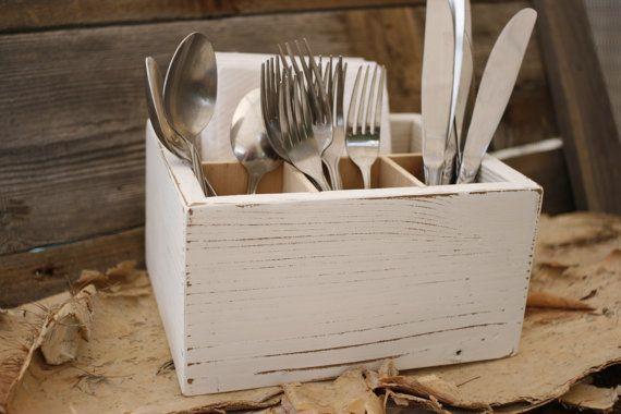 Caddy Silverware Utensil Holder Box Handmade Rustic by SignShack & Napkin Silverware Utensil Caddy Holder Box Gifts Under 30 Dollars ...