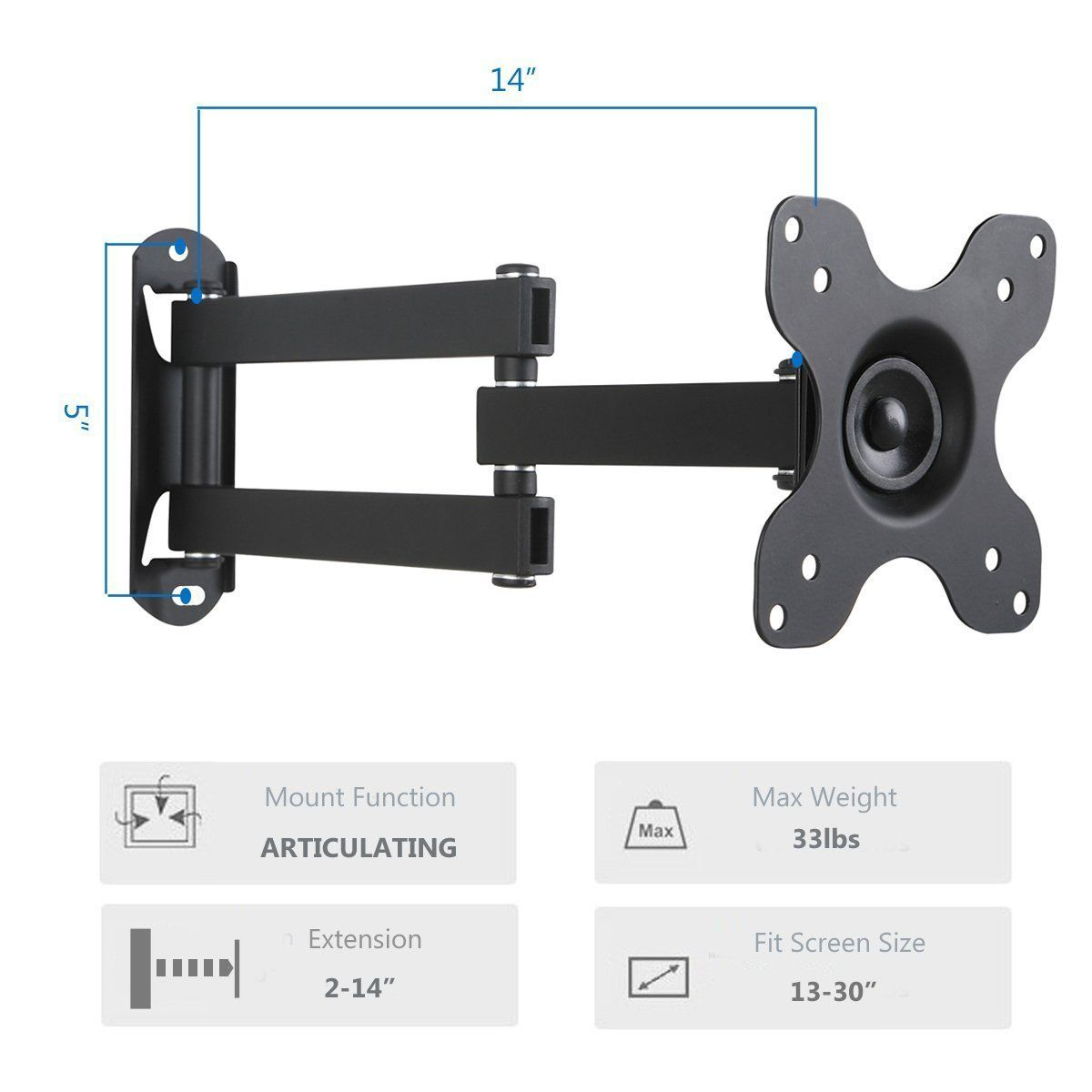 """WALI Articulating TV LCD Monitor Wall Mount Full Motion 14/"""" Extension Arm"""