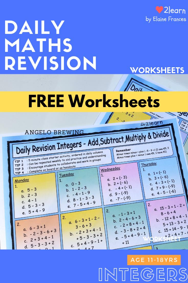 Free Math Worksheets Integers Math Freeworksheets Free Math Resources Free Math Math