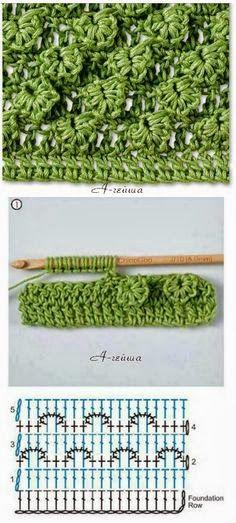 Crochet stitches Artesanato com amor...by Lu Guimarães: Ponto Crochê IV