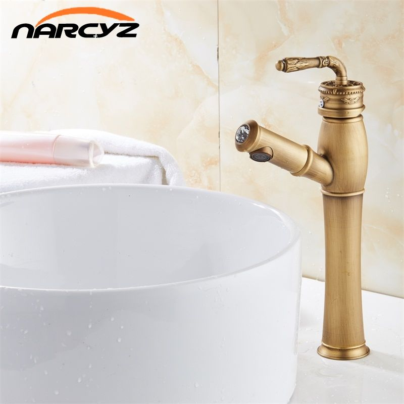 Bathroom Basin Antique Color Faucet Water Tap Pull Out Spray