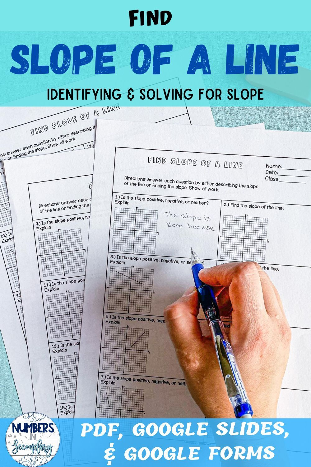 Find Slope Of A Line In 2020 Middle School Math Worksheets Maths Activities Middle School High School Math Activities