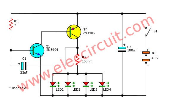 Dual Led Flasher By 2n2907 Electronic Projects Circuits automotive