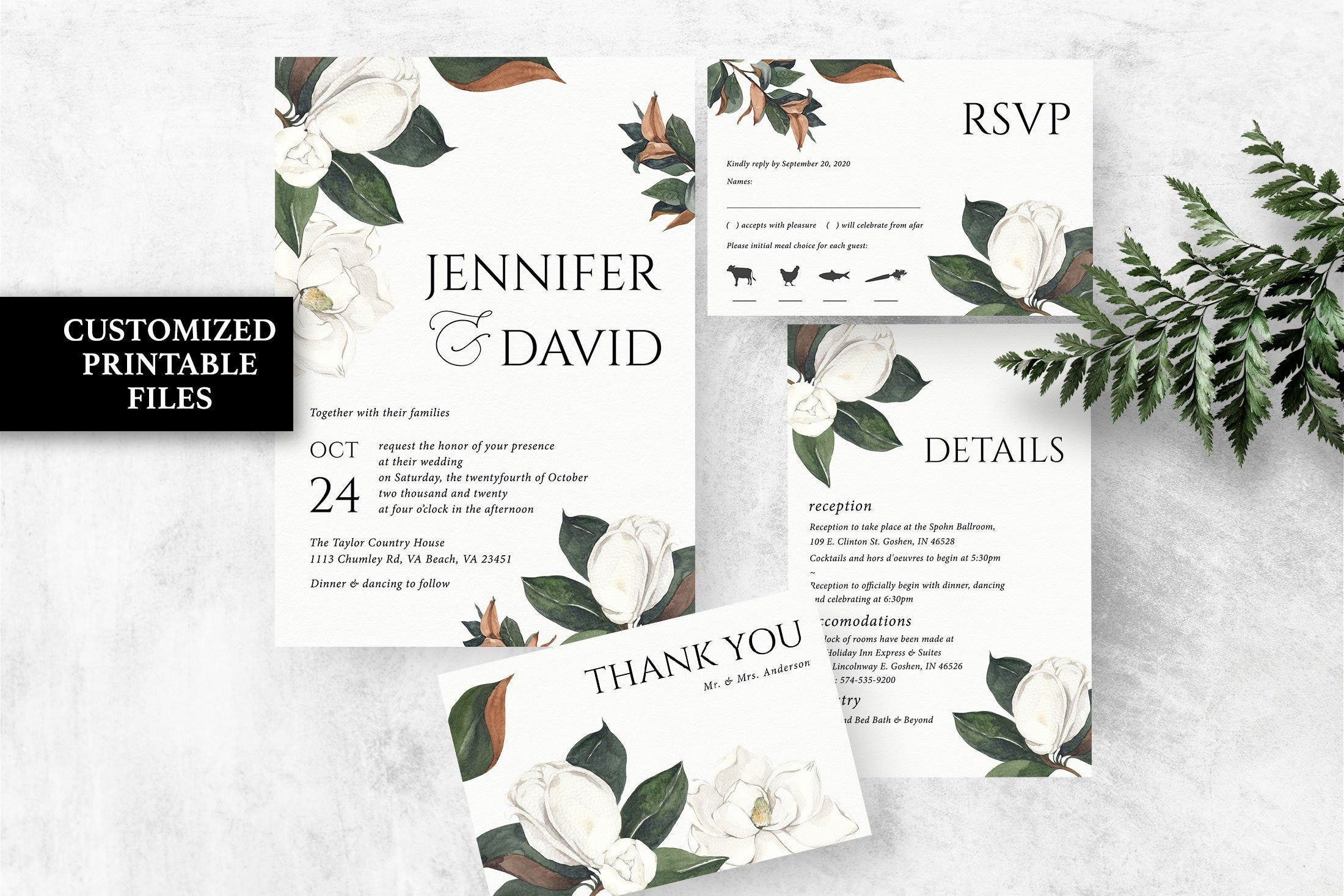 Floral Wedding Invitation Printable Magnolia Invitation Suite White Flowers Wedding Invites Spring Summer Greenery Wedding Invitation Set In 2020 Floral Wedding Invitations Printable Floral Wedding Invitations Popular Wedding Invitations