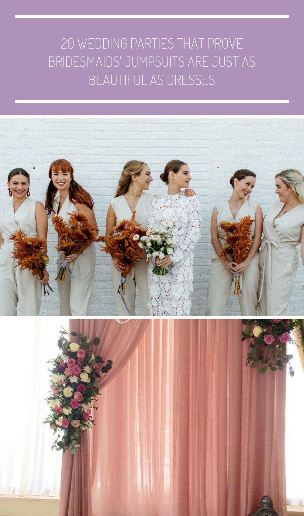 The look is fashion-forward, versatile, and flattering—plus, the pants component of these garments allows your crew to move freely on the dance floor. #wedding #bridesmaids #weddingfashion #jumpsuits #weddingparty #weddingideas #weddings #highfashion #weddingtrends | Martha Stewart Weddings - 20 Wedding Parties That Prove Bridesmaids' Jumpsuits Are Just as Beautiful as Dresses #Wedding party 20 Wedding Parties That Prove Bridesmaids' Jumpsuits Are Just as Beautiful as Dresses #bridesmaidjumpsu #bridesmaidjumpsuits