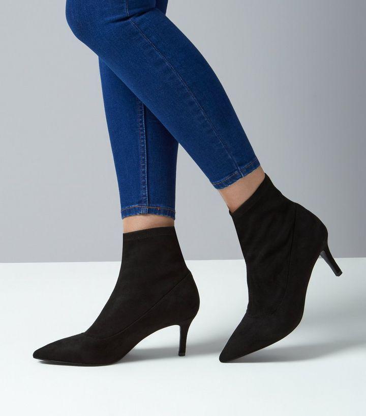 E40black Suedette Kitten Heel Sock Boots New Look Kitten Heel Ankle Boots Womens Leather Ankle Boots Black Boots
